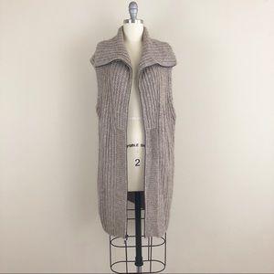 Vince Long Ribbed Knit Zip Up Vest